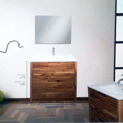 """ארון אמבטיה עומד לטיני 80 ס""""מ מעץ מלא"""