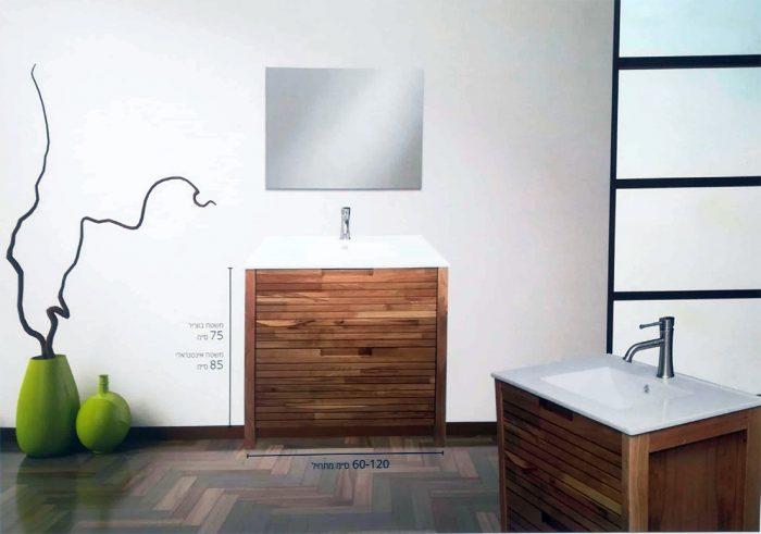 """ארון אמבטיה עומד לטיני 120 ס""""מ מעץ מלא"""