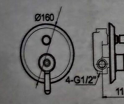 אינטרפוץ 4 דרך שחור מט בשילוב ניקל