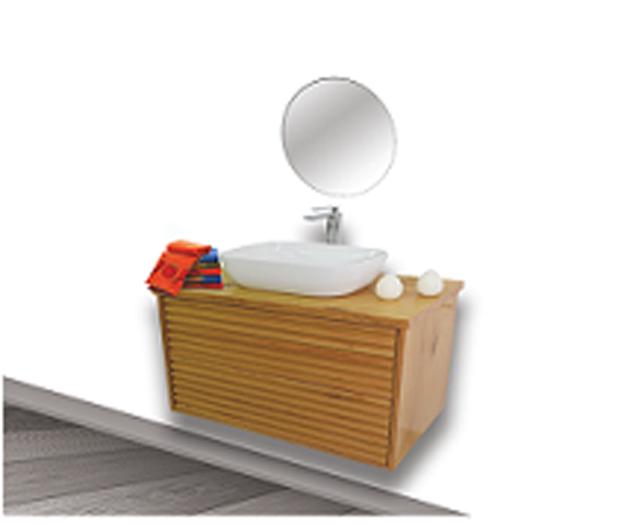 """ארון אמבטיה תלוי טרני 70-80 ס""""מ מעץ מלא"""