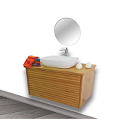 """ארון אמבטיה תלוי טרני 90 ס""""מ מעץ מלא"""