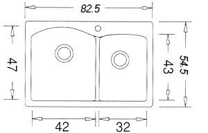 כיור מטבח דיאמונד 1.75 בלנקו כפול גרניט