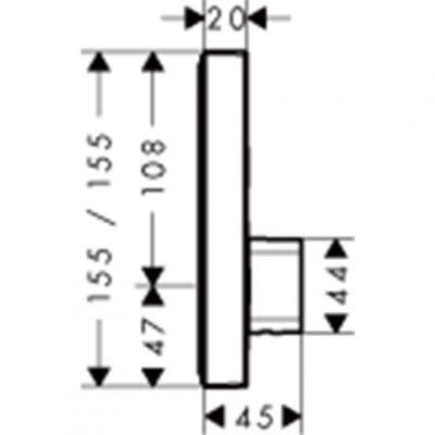 כיסוי תרמוסטט חיצוני לאינטרפוץ 4 דרך מסדרת סלקט S, hansgrohe