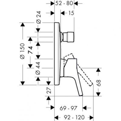 כיסוי חיצוני בלבד לאינטרפוץ 4 דרך מסדרת טאליס S , hansgrohe