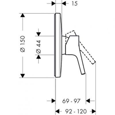 כיסוי אינטרפוץ חיצוני בלבד 3 דרך מסדרת טאליס S , hansgrohe