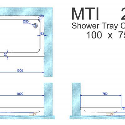אגנית MTI אקרילית 100X75