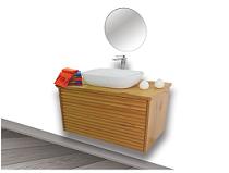 """ארון אמבטיה תלוי טרני 120 ס""""מ מעץ מלא"""