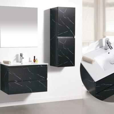 """ארון אמבטיה תלוי קלקתא שיש שחור 80 ס""""מ"""