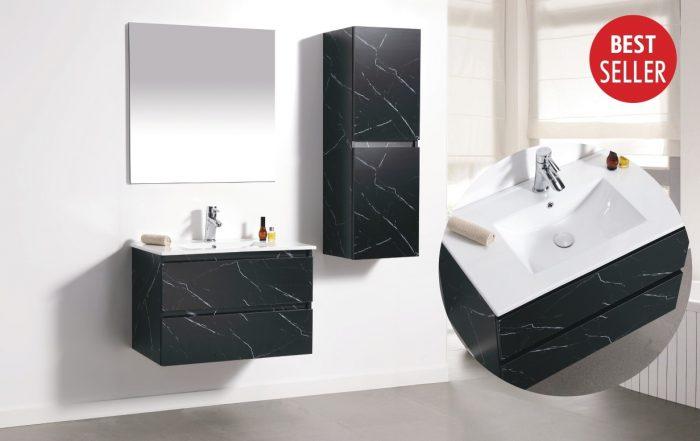 """ארון אמבטיה תלוי קלקתא שיש שחור 60 ס""""מ"""
