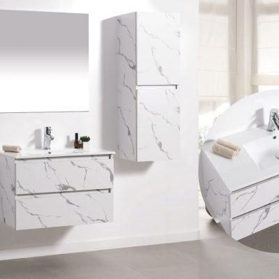 """ארון אמבטיה תלוי קלקתא שיש לבן 80 ס""""מ"""