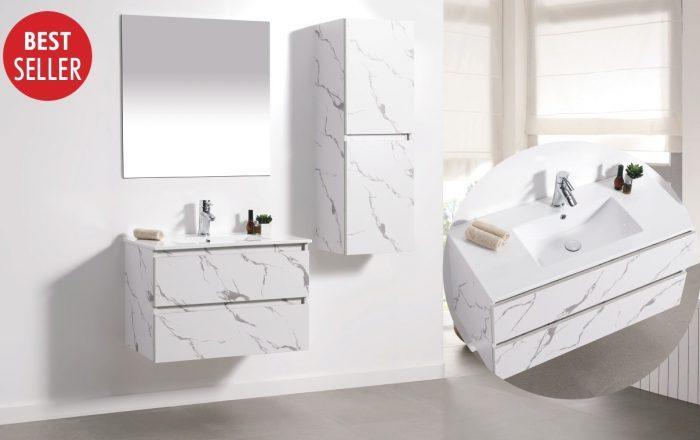 """ארון אמבטיה תלוי קלקתא שיש לבן 60 ס""""מ"""