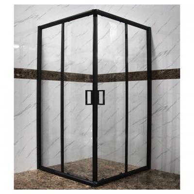 מקלחון פינתי הזזה מרובע שחור