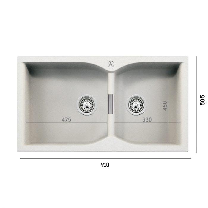 כיור קמפוס N-175-XL כפול למטבח