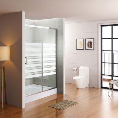 מקלחון חזית הזזה דופן קבוע פרל ודלת על ציר קבועה