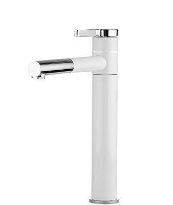 ברז אמבטיה גבוה לכיור מונח 5403 לבן בשילוב ניקל
