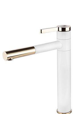 ברז אמבטיה גבוה לכיור מונח 5403 לבן בשילוב זהב מבריק