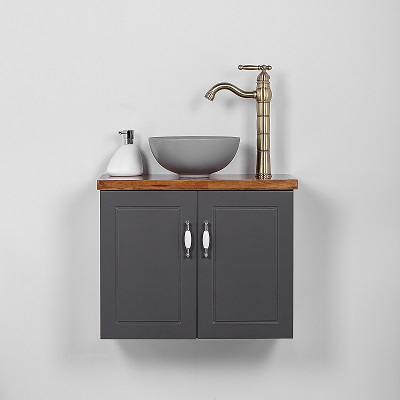 """ארון אמבטיה תלוי סדרת פרובנס 60 ס""""מ אפור"""