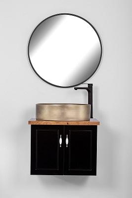 """ארון אמבטיה תלוי סדרת פרובנס 60 ס""""מ שחור"""
