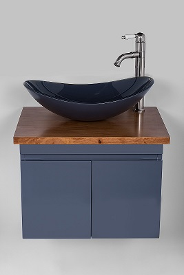 """ארון אמבטיה תלוי סדרת יהלום 60 ס""""מ אפור מבריק"""