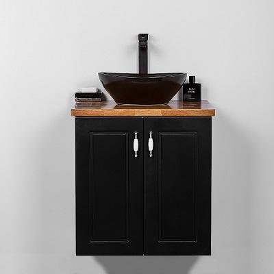 """ארון אמבטיה תלוי סדרת נאפולי 60 ס""""מ שחור"""