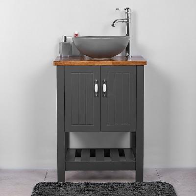 """ארון אמבטיה עומד נאפולי 60 ס""""מ אפור"""