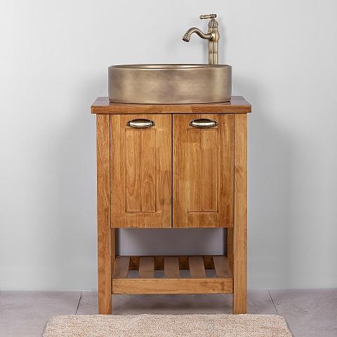 """ארון אמבטיה עומד 60 ס""""מ סיציליה מעץ מלא"""