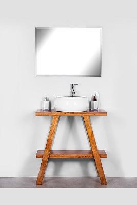 """ארון אמבטיה ירושלים 80 ס""""מ מעץ מלא עומד"""