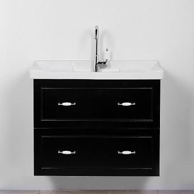 """ארון אמבטיה תלוי סדרת פלרמו 80 ס""""מ שחור מט"""