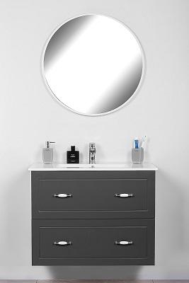 """ארון אמבטיה תלוי 80ס""""מ סדרת פלרמו אפור מט"""