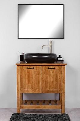 """ארון אמבטיה עומד מעץ מלא 80 ס""""מ סיציליה"""