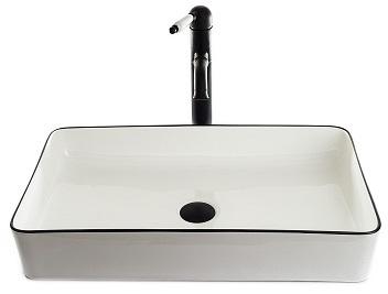 """כיור אמבטיה מונח 9015 לבן עם פס שחור 60 ס""""מ"""