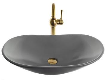 """כיור אמבטיה מונח אובלי 9224 בטון אפור 63 ס""""מ"""