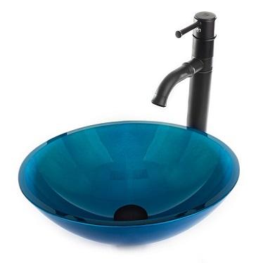 """כיור זכוכית מונח 9270 כחול 41 ס""""מ"""