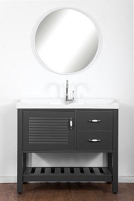 """ארון אמבטיה עומד 100 ס""""מ אפור מט סדרת רומא"""