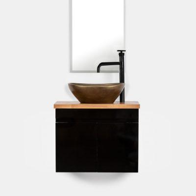 """ארון אמבטיה תלוי סדרת יהלום שחור מבריק 60/30 ס""""מ"""