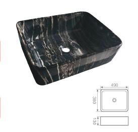 """כיור מונח מרובע שיש שחור 56.5*36.5 ס""""מ"""