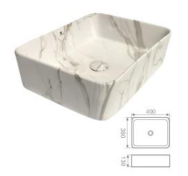"""כיור מונח מרובע שיש לבן 56.5*36.5 ס""""מ"""