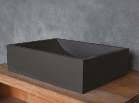 כיור בטון מונח רובי גוון אפור כהה