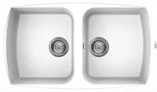 """כיור מטבח כפול ELLECI איטליה מתאים לארון 83 ס""""מ ליווינג 450 ביאנקו"""