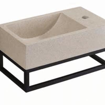 כיור מלבני מונח עם מדף לתליית כיור PEZZI איטליה אבן חול לבנה