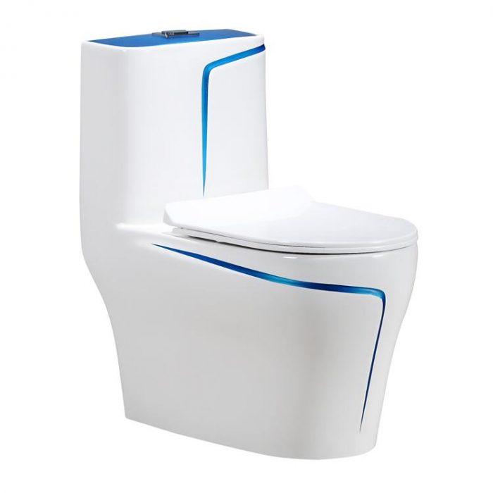 אסלה מונובלוק לבנה עם פס כחול