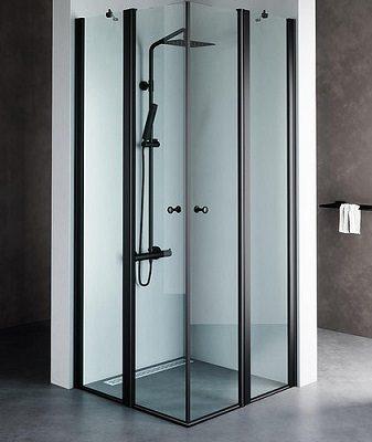 מקלחון שחור מונרו C, מקלחון פינתי בגימור שקוף