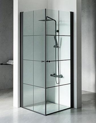 מקלחון שחור אדמס S, מקלחון פינתי, בגימור פסים