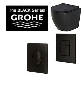 חדש בכיור וברז לחצן GROHE שחור+ ניאגרה בלוק+ אסלה שחורה רימלס