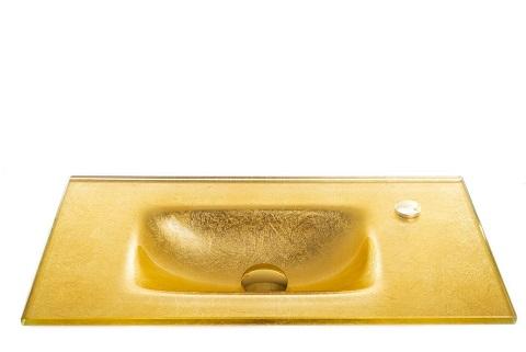 כיור מעוצב אינטגרלי זכוכית זהב מקומט
