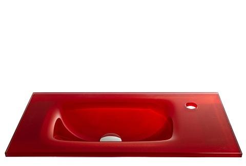 כיור מעוצב אינטגרלי זכוכית אדומה