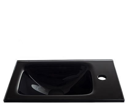 """כיור אינטגרלי זכוכית שחורה 43*25 ס""""מ"""