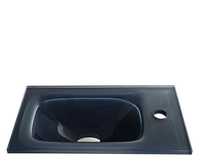 """כיור אינטגרלי זכוכית אפורה 43*25 ס""""מ"""