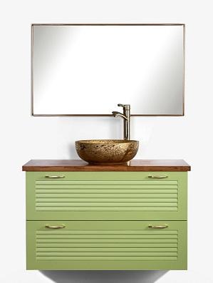 """ארון אמבטיה פלרמו תלוי 2 מגירות ירוק תפוח 100 ס""""מ"""