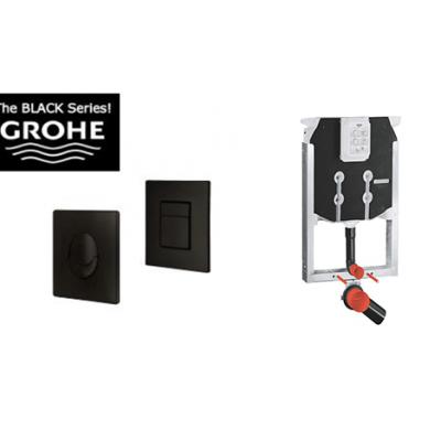 לחצן הפעלה שחור GROHE + ניאגרה דקה לקיר גבס GROHE